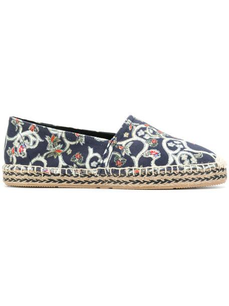 women espadrilles leather cotton blue shoes
