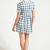 Blue & Cream Gingham Check Print Tea Dress | Apricot