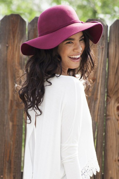 hat floppy hat burgundy fedora fashion style