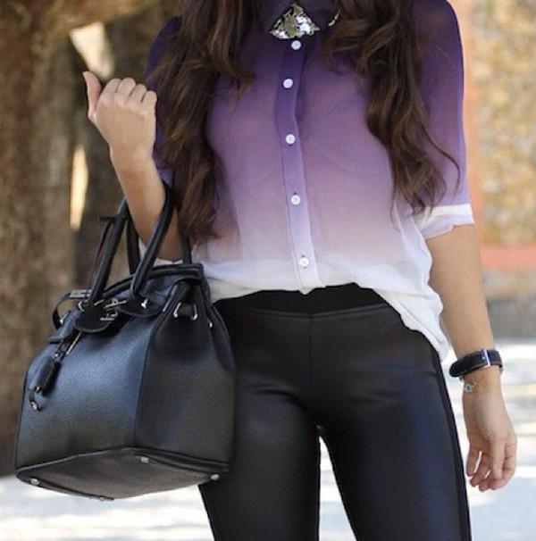 Purple Sheer Long Sleeve Blouse Long Sleeve Sheer Blouse