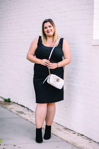 stylishsassy&classy blogger dress shoes bag gucci bag black dress ankle boots