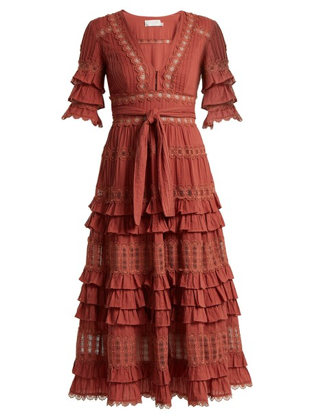 Zimmermann dress midi dress midi cotton pink
