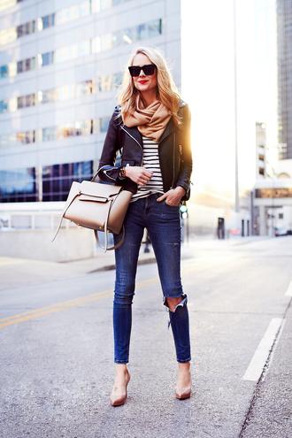 fashionjackson blogger jacket top jeans shoes scarf bag sunglasses jewels make-up