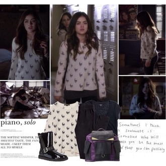 sweater skull sweater aria montgomery lucy hale pretty little liars bag