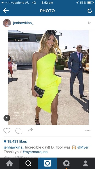 dress neon yellow jennifer hawkins tony maticevski melbourne cup 2015