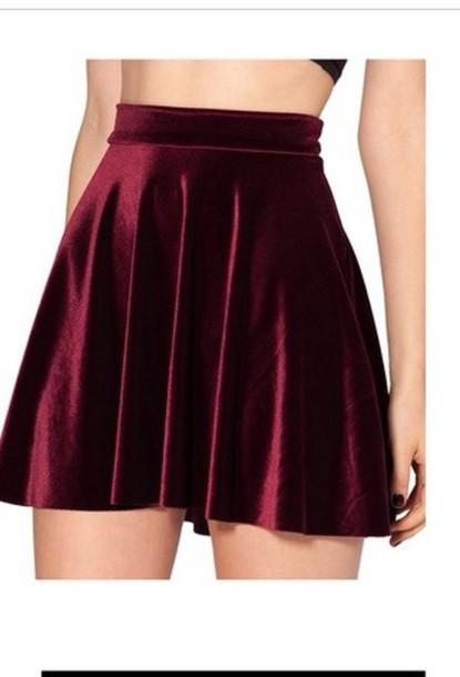 skirt burgundy velvet skirt burgundy skirt