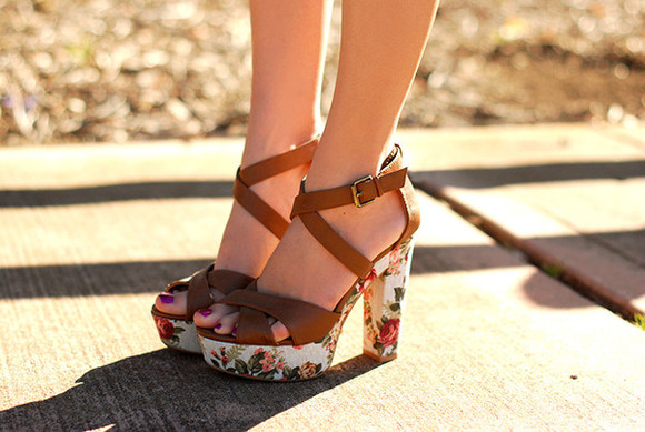 shoes platform shoes cross strap floral high heels rose print brown strap platform heels