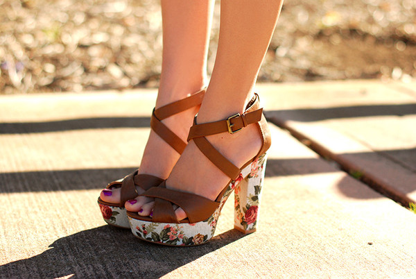 shoes cross strap floral floral platform shoes heels roses brown strap platform heels