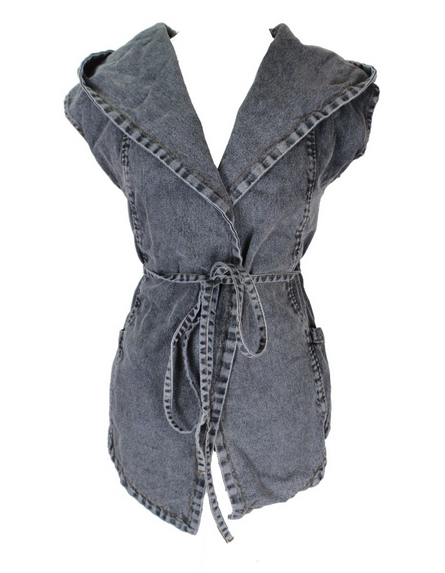 Oversized Denim Hooded Vest