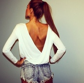 shorts,blouse,shirt,white shirt,low back shirt,layered shirt,top,summer,white,girly