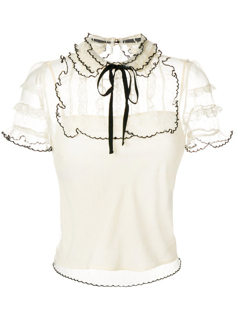 RED VALENTINO blouse women lace nude cotton silk top