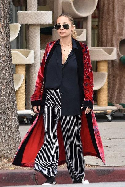 coat stripes pants wide-leg pants robe nicole richie celebrity streetstyle