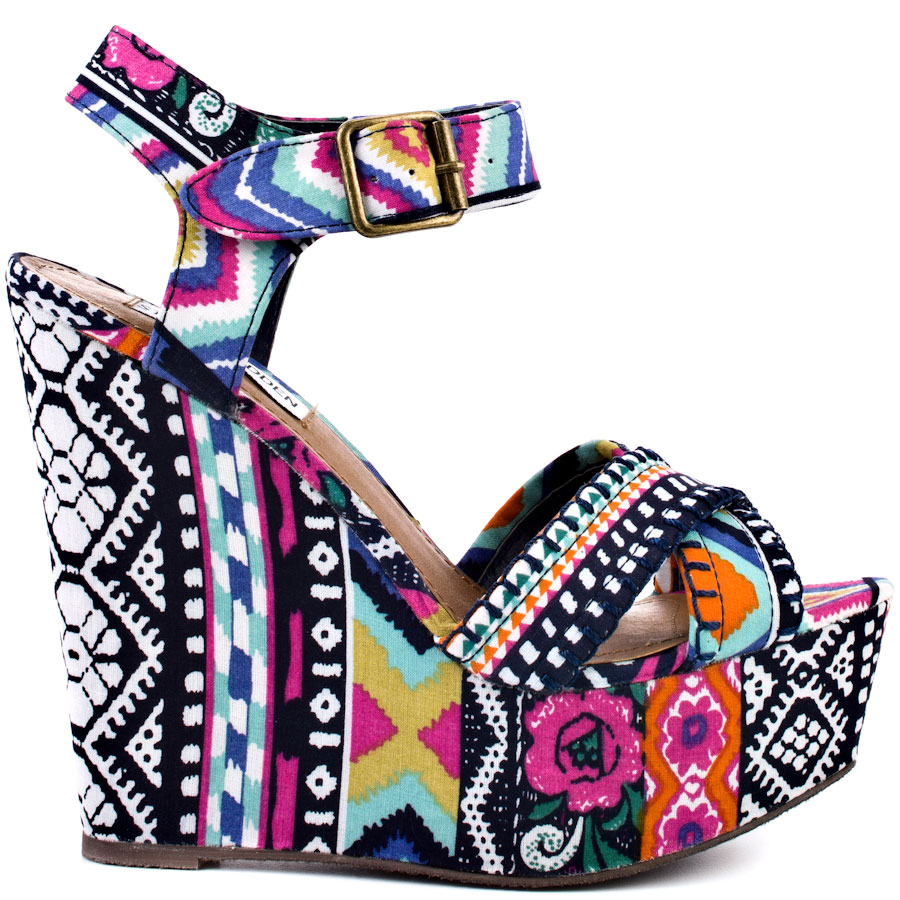 7357d3bdf7 shoes, where do i get these shoes, multicolor, wedges, aztec print shoes, tribal  pattern, steve madden, high heels, colorful shoes, colorful wedges, ...