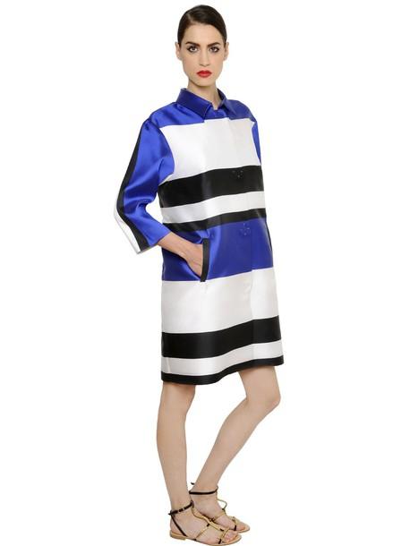 coat satin white blue