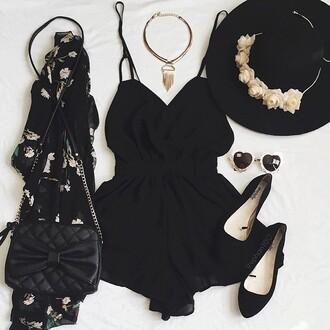 romper black romper cute pretty tumblr black dress black jumpsuit style fashion tumblr outfit