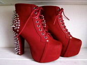 shoes,red,spiked