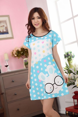 dress pajamas pajama dress cute kawaii japan japanese korean fashion kpop lolita bunny polka dots blue white light blue
