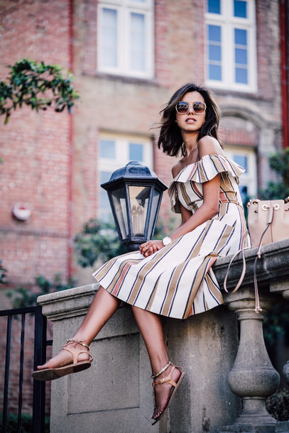 viva luxury blogger striped dress off the shoulder dress spring dress flat sandals dress bardot dress off the shoulder midi dress sandals nude sandals bucket bag nude bag summer dress summer outfits girly
