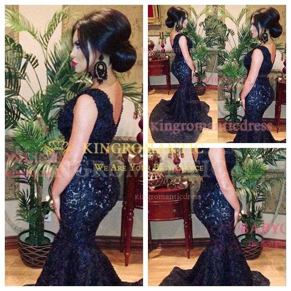 2014 New Fashion Sexy V Neck Black Beaded Lace Mermaid Prom Dresses Court Train Women Evening Gowns Long KR4836-in Prom Dresses from Apparel & Accessories on Aliexpress.com