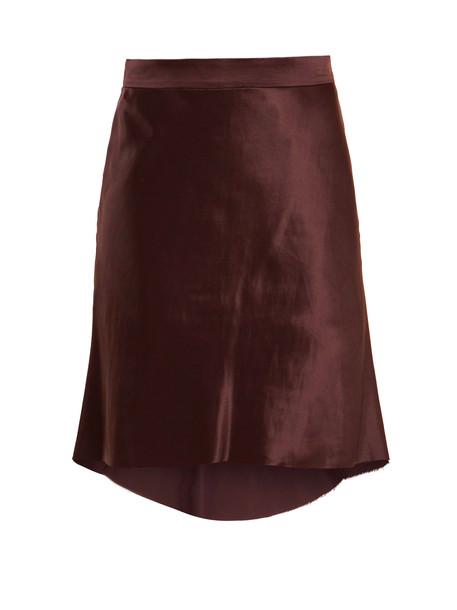 RAEY Bias godet silk-satin slip skirt in burgundy