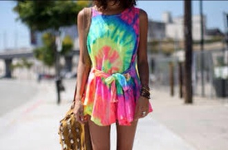 dress colourful tye dye dress hippie bright colored
