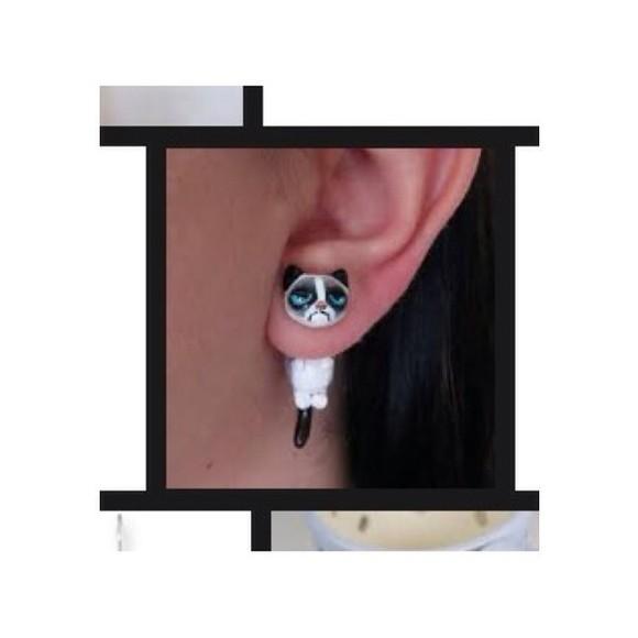 jewels earrings grumpy cat cats
