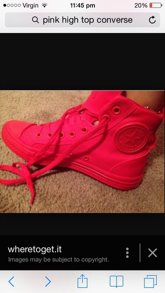 shoes converse high tops bright pink