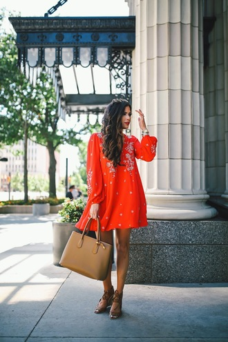thesweetestthing blogger dress shoes bag sunglasses jewels red dress long sleeves brown bag nude bag mini dress lace up flats floral dress orange dress embroidered dress embroidered short dress handbag sandals brown sandals lace up sandals