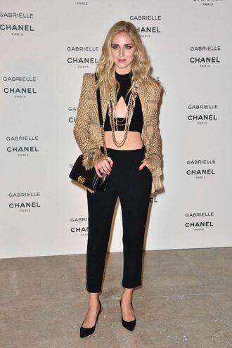 top pants crop tops jacket fashion week 2017 paris fashion week 2017 blogger chiara ferragni the blonde salad