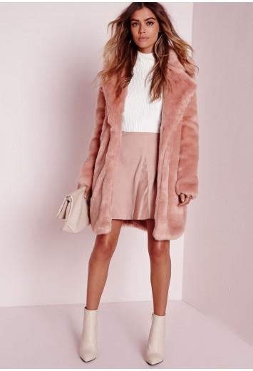 Longline Faux Fur Coat Pink