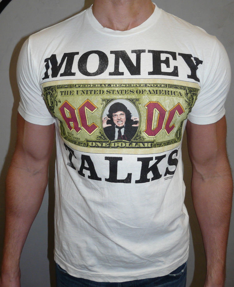 "Urban Outfitters ACDC ""Money Talks"" White Graphic Tee T Shirt Large 