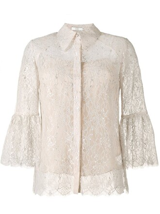 shirt lace shirt metallic lace floral nude top