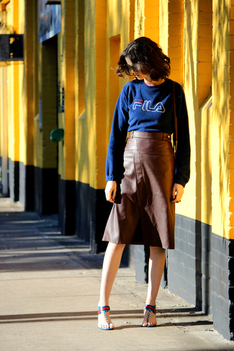 by chill blogger sweater skirt sunglasses shoes bag