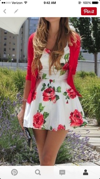 dress floral spring summer white red flowers pretty