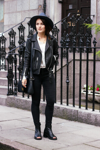 the little magpie jacket blouse jeans shoes blogger leather jacket leather boots black boots all saints h&m embroidered top shop skinny jeans peep toe boots open toe goth hipster hipster cute dope cool rad rock