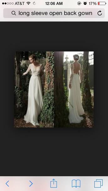 dress long sleeve dress open back prom dress white lace dress