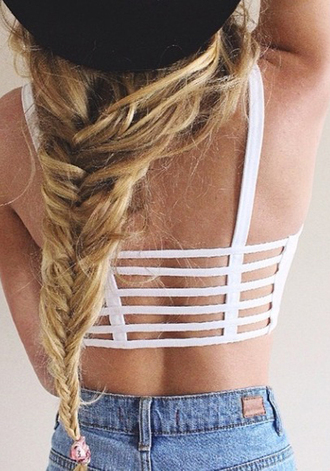 tank top caged back crop tops white top white rop top caged top
