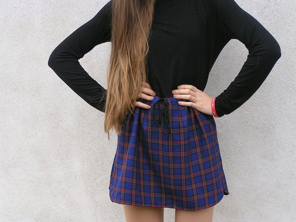 shirt skirt blue model girl fashion tumblr plaid skirt