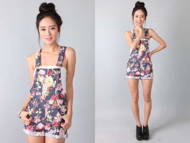 Shorts: overalls, flowered shorts, floral, cute, t-shirt, denim ...