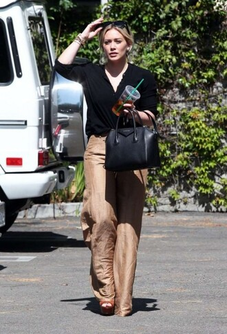shirt pants wide-leg pants hilary duff sandals spring outfits purse office outfits bag