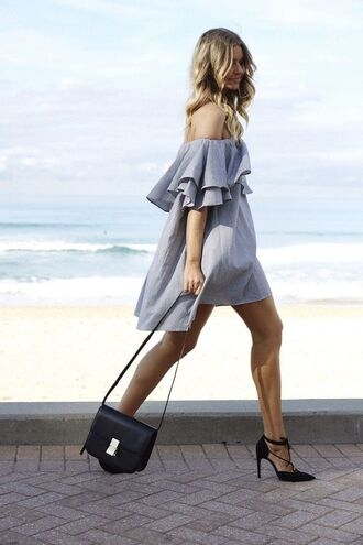 dress grey grey dress frilly ruffle bag heels strappy heels off the shoulder off the shoulder dress black bag shoulder bag romantic dress mini dress