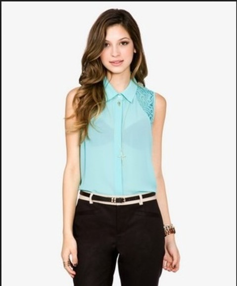 blouse blue blouse cute black jeans