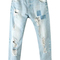 Romwe | romwe distressed washed rolled-up light-blue jeans, the latest street fashion