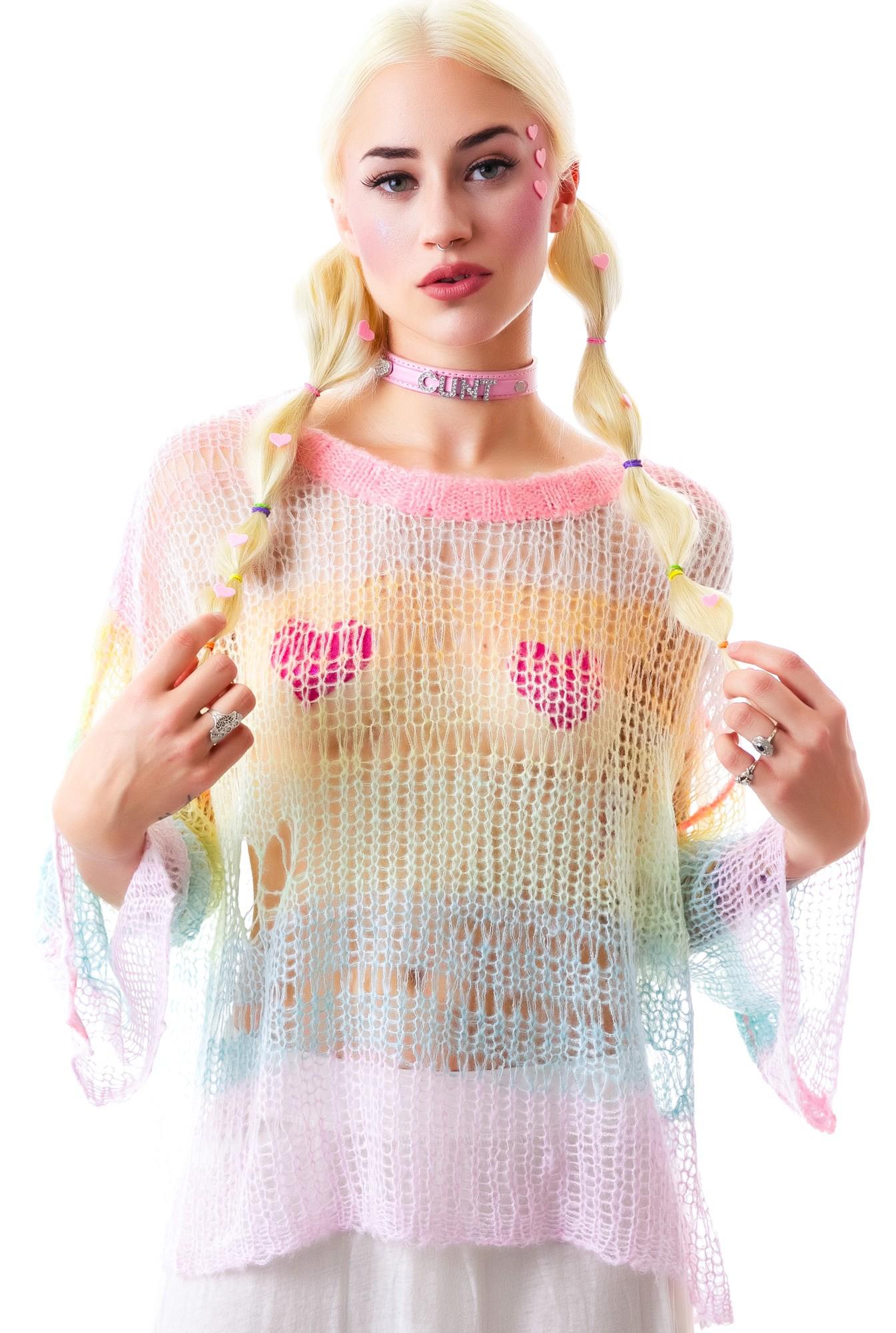 Wildfox couture rainbow ski bunny lost sweater