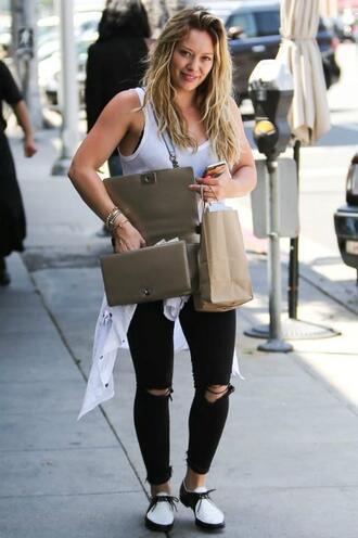shoes top jeans hilary duff tank top