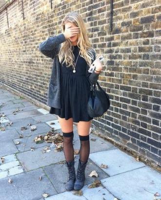 dress black dress combat boots socks sweater grunge dress