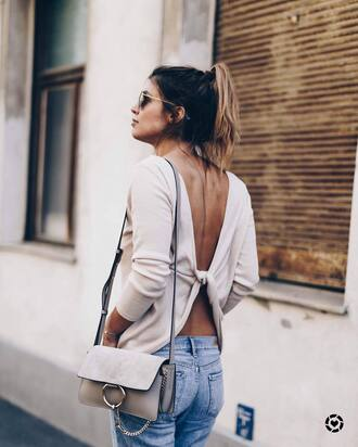 top tumblr white top open back backless top backless denim jeans blue jeans bag