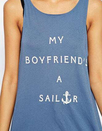 shirt top summer tank tnk top blue tank top sailor print top