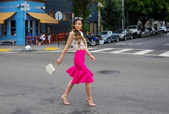 skirt ruffle skirt blouse lace blouse blogger blogger style mini bag pumps earrings asymetrical skirt