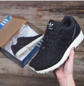 shoes,sparkle,black,zx flux,adidas,women's,u.k. size 8
